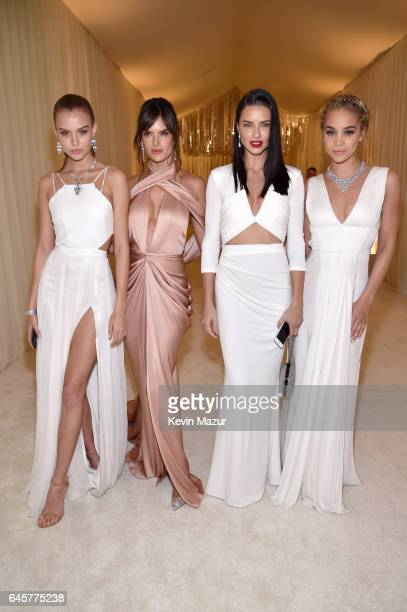 Models Josephine Skriver Alessandra Ambrosio Adriana Lima and actor Jasmine Sanders attend the 25th Annual Elton John AIDS Foundation's Academy...
