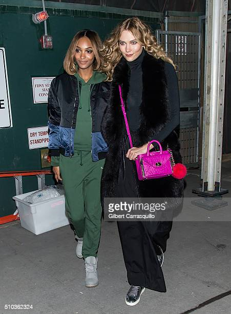 Models Jourdan Dunn and Karlie Kloss are seen outside Diane Von Furstenberg Presentation Fall 2016 New York Fashion Week on February 14 2016 in New...