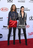 Models Jourdan Dunn and Kendall Jenner both wearing Balmain x HM attend the 2015 Billboard Music Awards at MGM Grand Garden Arena on May 17 2015 in...