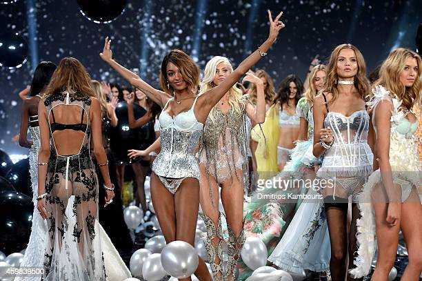 Models Jourdan Dunn Devon Windsor Magdalena Frackowiak and Stella Maxwell walk the show finale of the 2014 Victoria's Secret Fashion Show at Earl's...