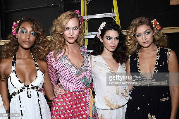 Models Jourdan Dunn Karlie Kloss Kendall Jenner and Gigi Hadid pose backstage at the Diane Von Furstenberg Spring 2016 fashion show during New York...