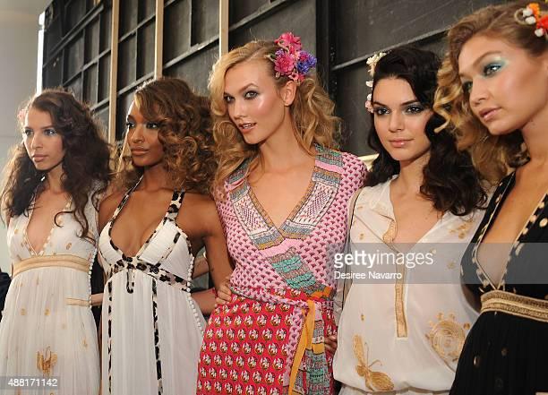 Models Jourdan Dunn Karlie Kloss Kendall Jenner and Gigi Hadid pose backstage during Diane Von Furstenberg Spring 2016 New York Fashion Week at...