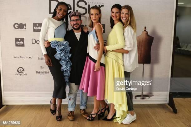 Models Juan velasco model model and Laura Sanchez poses with the designer Juan Velasco in the second edition of Pasarela del Sur on October 20 2017...