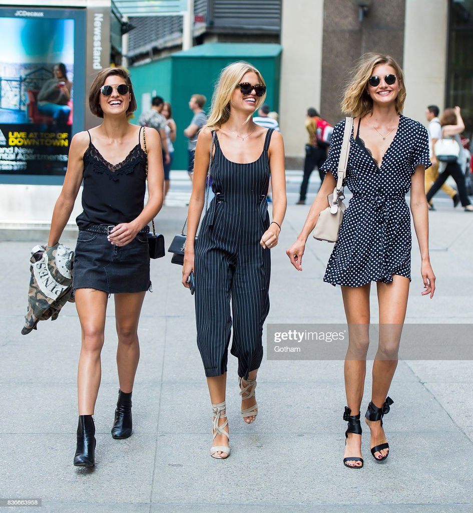 Models Julia van Os, Daphne Groeneveld and Sanne Vloet attend call backs for the 2017 Victoria's Secret Fashion Show in Midtown on August 21, 2017 in New York City.