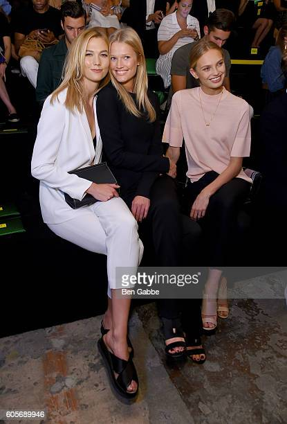 Models Karlie Kloss Toni Garrn and Romee Strijd attend the Boss Womenswear fashion show during New York Fashion Week September 2016 at The Gallery...