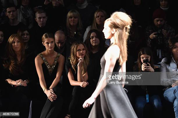 Models Kate Bock and Chrissy Teigen attend the Badgley Mischka fashion show during MercedesBenz Fashion Week Fall 2015 at The Theatre at Lincoln...