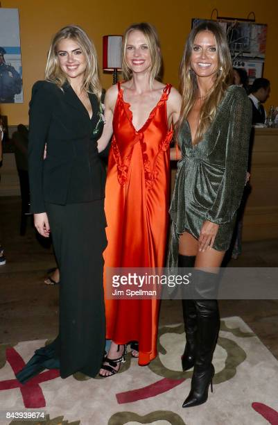 Models Kate Upton Anne V and Heidi Klum attend the premiere of 'House of Z' hosted by Brooks Brothers with The Cinema Society at Crosby Street Hotel...