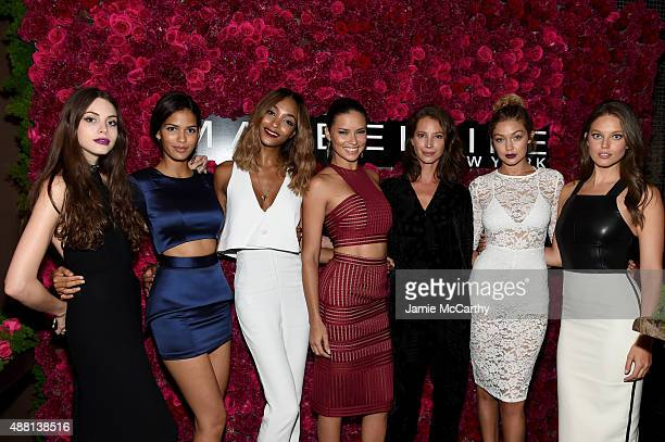 Models Kemp Muhl Cris Urena Jourdan Dunn Adriana Lima Christy Turlington Gigi Hadid and Emily DiDonato attend Maybelline New York Celebrates New York...