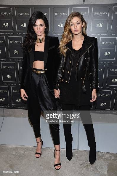 Models Kendall Jenner and Gigi Hadid attend the BALMAIN X HM Collection Launch at 23 Wall Street on October 20 2015 in New York City