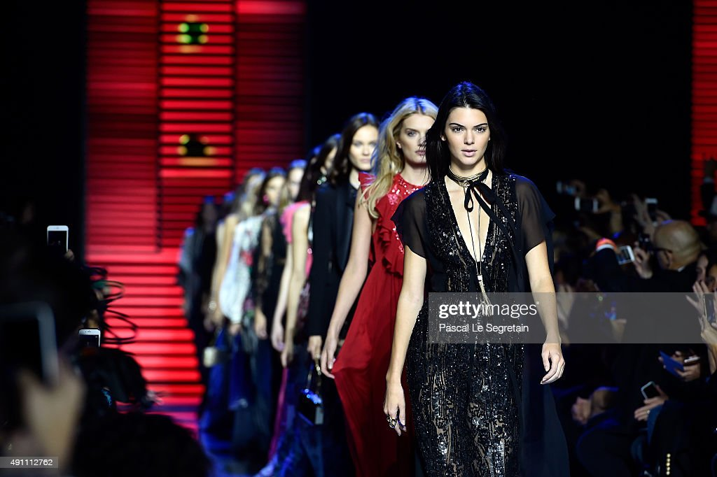 Models Kendall Jenner and Lily Donaldson walk the runway during the Elie Saab show as part of the Paris Fashion Week Womenswear Spring/Summer 2016 on...