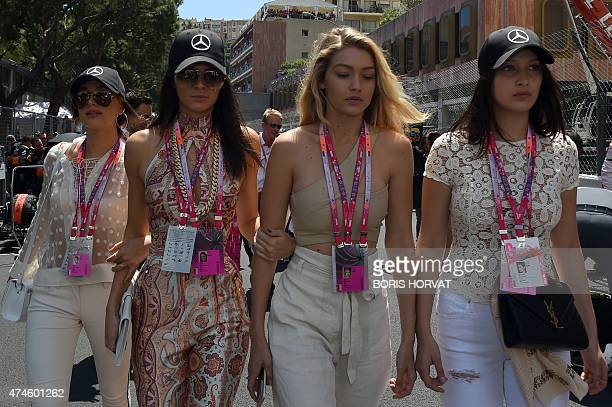 US models Kendall Jenner Gigi Hadid and Bella Hadid attend the Monaco Formula One Grand Prix at the Monaco street circuit in MonteCarlo on May 24...
