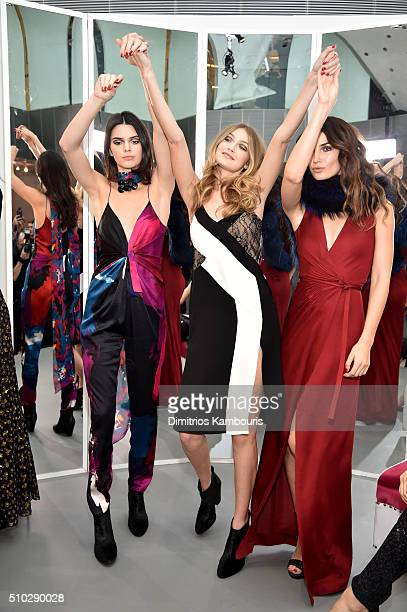 Models Kendall Jenner Gigi Hadid and Lily Aldridge wearing Diane Von Furstenberg Fall 2016 during New York Fashion Week on February 14 2016 in New...