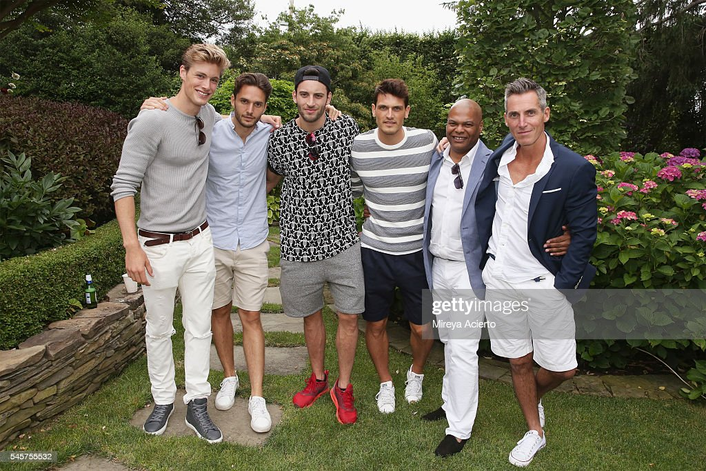 Models Kevin Hubsmith guest Kevin Sanpaio Sacha Legrand Earnest WilIiams and Bill Wackermann attend Daily Front Row's Boys of Summer party on July 9...