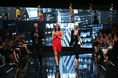 Models Kris Smith Jennifer Hawkins and Kate Peck walk the finale during the Myer Autumn Winter 2014 Fashion Launch at Myer Mural Hall on February 20...
