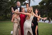Models Lara Stone Doutzen Kroes President of l'Oreal Cyril Chapuy Actress Eva Longoria Models Karlie Kloss and Isabeli Fontana attend amfAR's 22nd...
