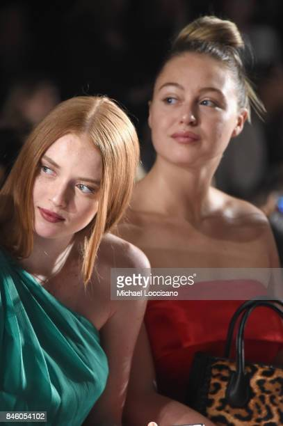 Models Larsen Thompson and Iskra Lawrence attend the Badgley Mischka fashion show during September 2017 New York Fashion Week The Shows at Gallery 1...