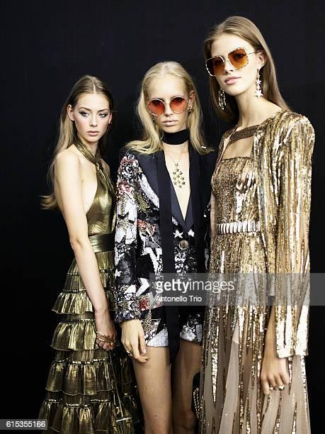 Models Lauren de Graaf Jessie Bloemendaal and Bara Podzimkova poses prior the Elie Saab show as part of the Paris Fashion Week Womenswear...
