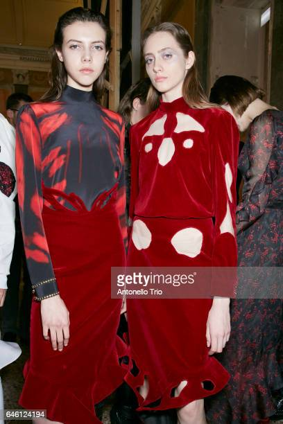 Models Lea Julian and Lia Pavlova are seen backstage ahead of the Francesco Scognamiglio show during Milan Fashion Week Fall/Winter 2017/18 on...