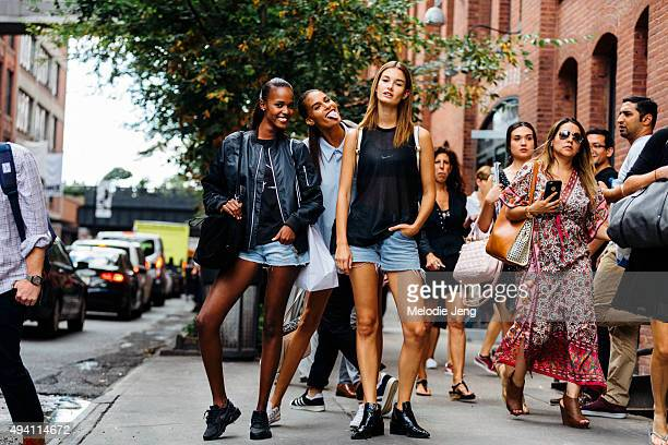 Models Leila Nda Cindy Bruna and OphelieGuillermand exit the Cushnie et Ochs at Milk Studios on September 11 2015 in New York City Leila wears a...