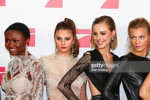 Models Leticia WalaNtuba Carina Zavline Maja Manczak and Serlina Hohmann from Germany's Next Top Model arrive at the premiere of the television show...