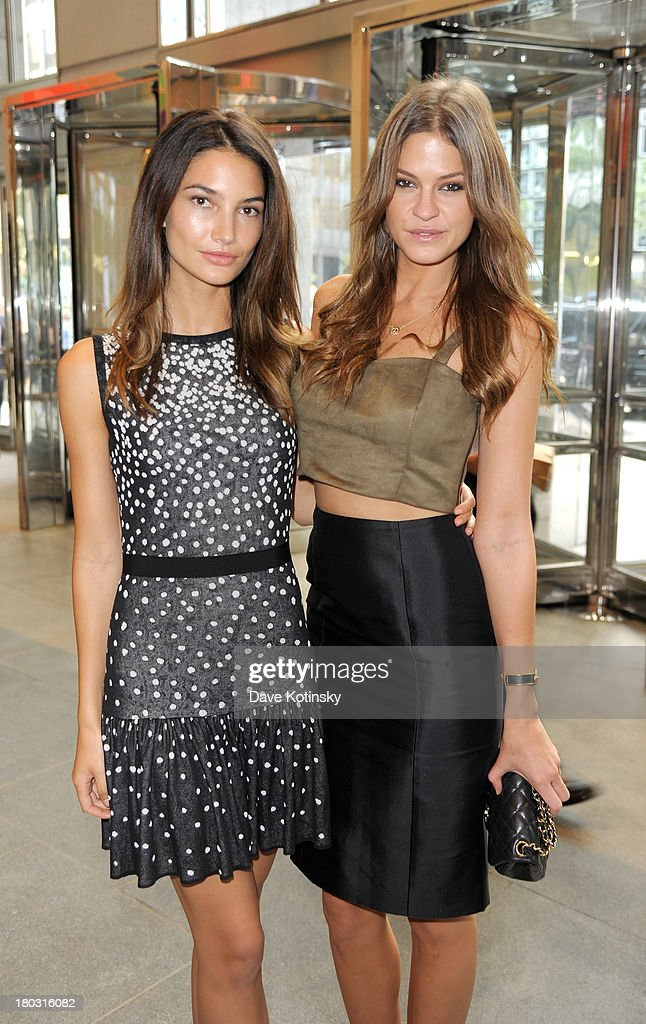 Models Lily Aldridge (L) and Dominique Piek attend the annual charity day hosted by Cantor Fitzgerald and BGC at the BGC Office on September 11, 2013 in New York City.