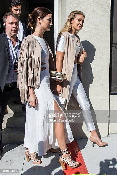 Models Lily Aldridge and Gigi Hadid are seen arriving at Serena Williams Signature Collection By HSN during Spring 2016 New York Fashion Week on...