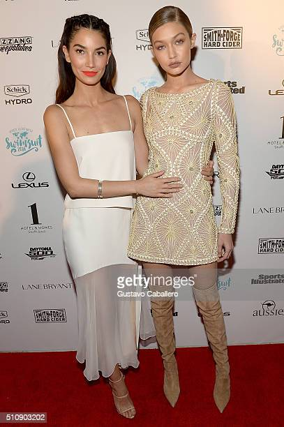 Models Lily Aldridge and Gigi Hadid attend the Sports Illustrated Swimsuit 2016 Swim BBQ VIP at 1 Hotel Homes South Beach on February 17 2016 in...