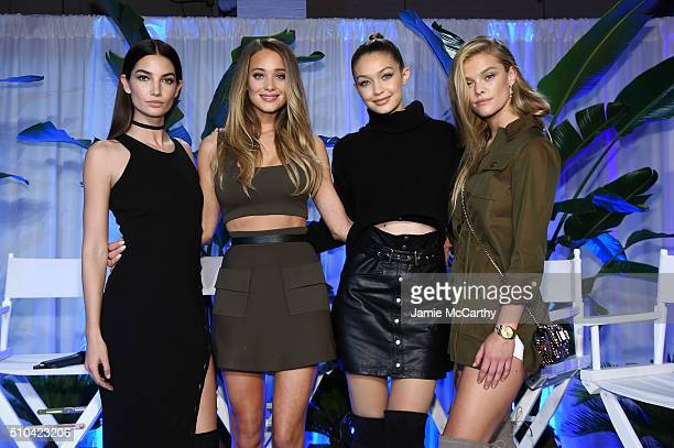Models Lily Aldridge Hannah Davis Gigi Hadid and Nina Agdal pose together at the Sports Illustrated Swimsuit 2016 Swim City at the Altman Building on...