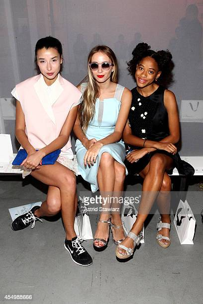 Models Lily Kwong Harley VieraNewton and Kilo Kish attend the 31 Philip Lim Spring Summer 2015 fashion show with TRESemme at Skylight Clarkson SQ on...