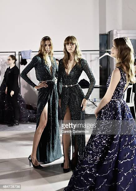 Models line up backstage before the Zuhair Murad show as part of Paris Fashion Week Haute Couture Fall/Winter 2015/2016 at Palais de Tokyo on July 9...