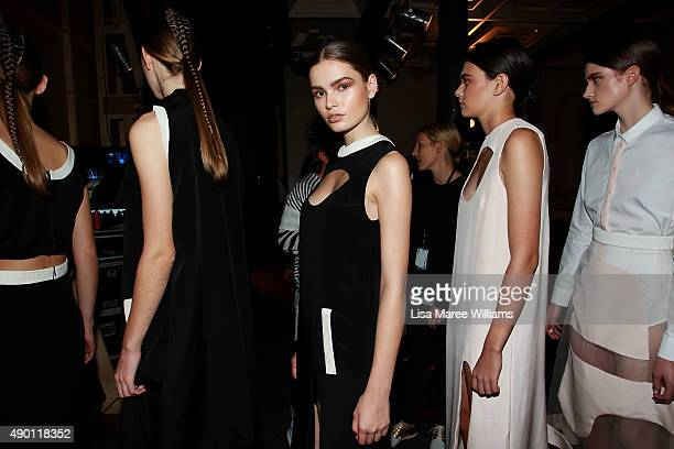 Models lineup backstage ahead of the Australian Luxe show during MercedesBenz Fashion Festival Sydney 2015 at Sydney Town Hall on September 26 2015...