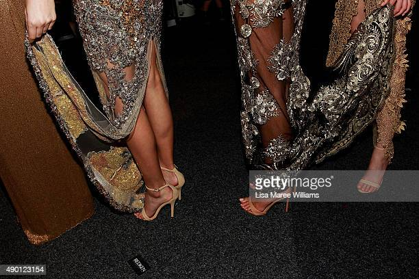 Models lineup backstage ahead of the Red Carpet show during MercedesBenz Fashion Festival Sydney 2015 at Sydney Town Hall on September 26 2015 in...