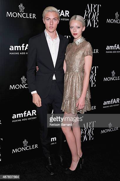 Models Lucky Blue Smith and Pyper America Smith attend a private viewing of Art For Love 32 Photographers Interpret The Iconic Moncler Maya Jacket...