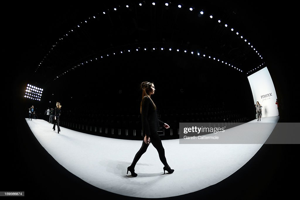 Models make a practice walk prior to Minx By Eva Lutz Autumn/Winter 2013/14 fashion show during Mercedes-Benz Fashion Week Berlin at Brandenburg Gate on January 16, 2013 in Berlin, Germany.