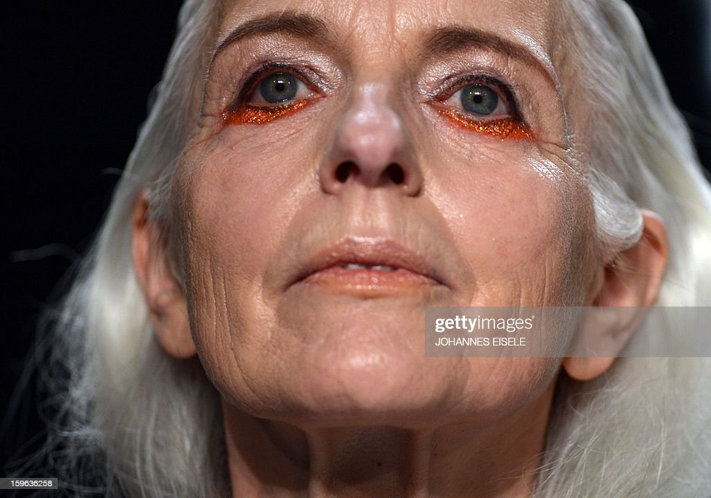 A model's make up is seen suring presentation by designer A degree Fahrenheit during the Autumn/Winter 2013 show of the Mercedes-Benz Fashion Week on January 17, 2013 in Berlin. The Berlin Fashion Week takes place from January 15 to 20, 2012.