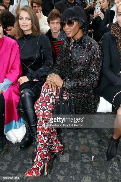 Models MarieAnge Casta and Naomi Campbell attend 'Le Defile L'Oreal Paris show' as part of the Paris Fashion Week Womenswear Spring/Summer 2018 on...