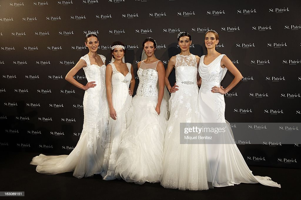 Models (L-R) Marta Espanol, Raquel Jimenez, Jessica Bueno, Davinia Pelegri and Teresa Vaca showcase designs from the St Patrick new collection on March 4, 2013 in Barcelona, Spain.