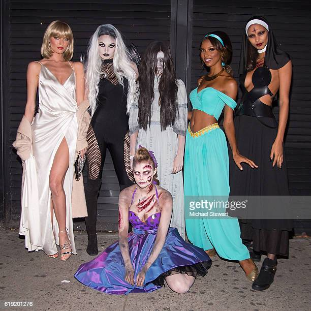 Models Martha Hunt Romee Strijd Josephine Skriver Sara Sampaio Jasmine Tookes and Lais Ribeiro attend Night of the Fallen at Marquee on October 29...