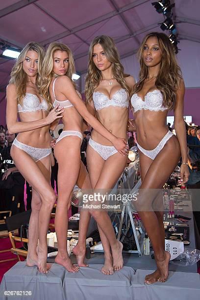 Models Martha Hunt Stella Maxwell Josephine Skriver and Jasmine Tookes prepare before the 2016 Victoria's Secret Fashion Show at Le Grand Palais in...