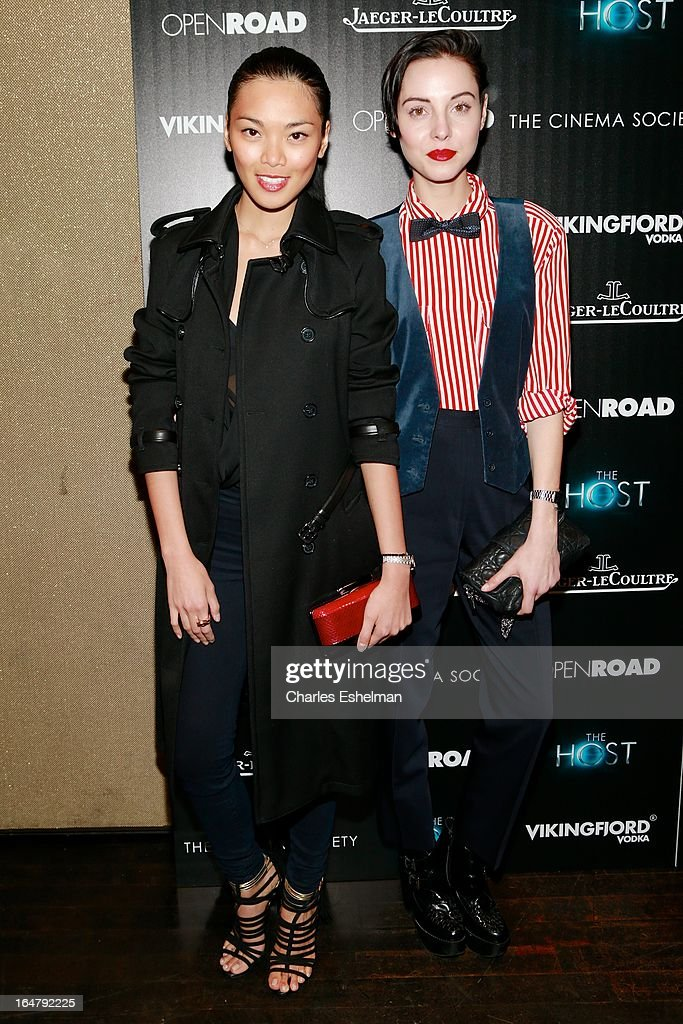 Models Meki Saldana and Holly Kiser attend The Cinema Society & Jaeger-LeCoultre Host A Screening Of Open Road Films' 'The Host' at the Tribeca Grand Hotel - Screening Room on March 27, 2013 in New York City.