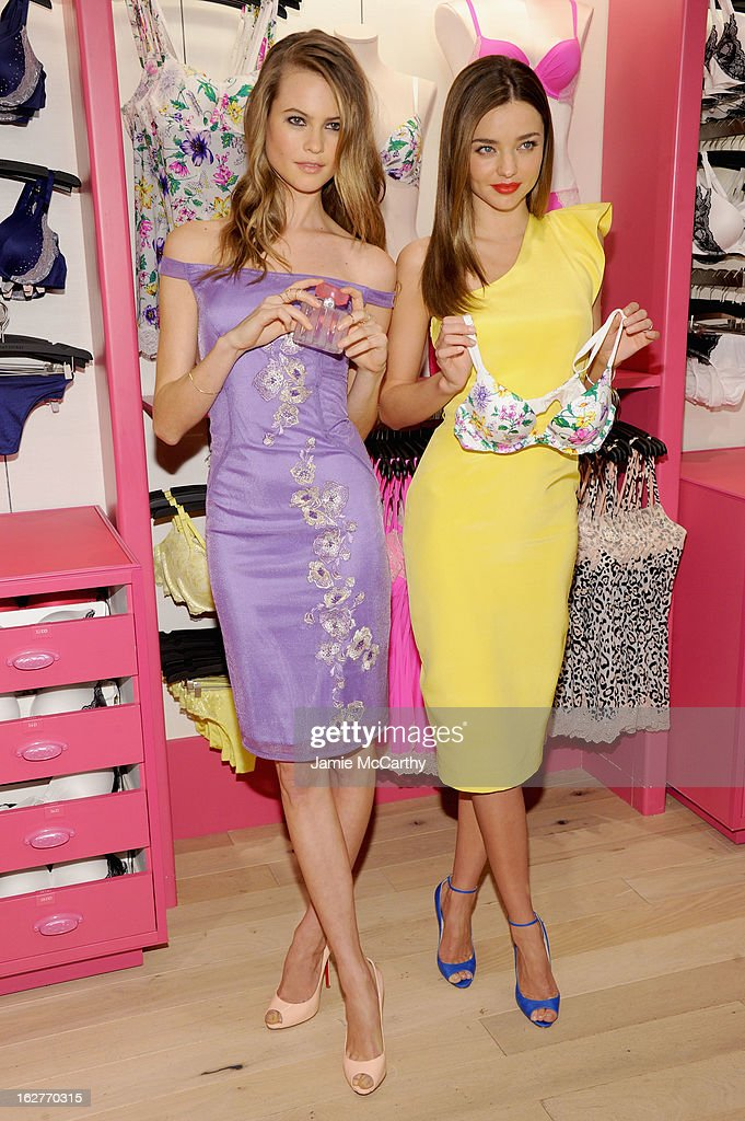 Models Miranda Kerr and Behati Prinsloo attend Victoria's Secret Angels Launch Fabulous Collection at Victoria's Secret Herald Square on February 26, 2013 in New York City.