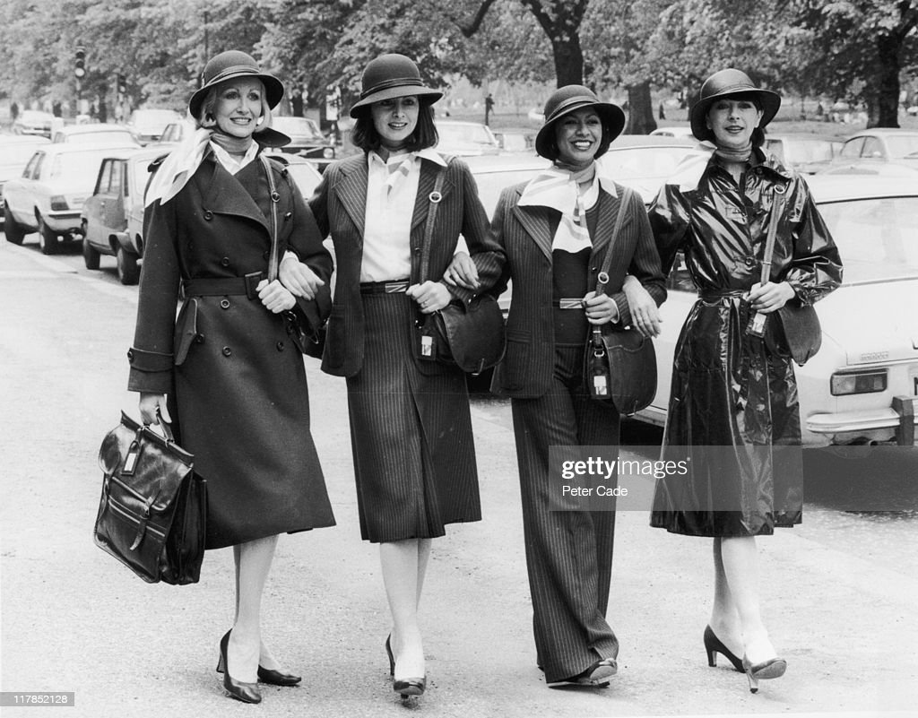Models Myrtle Winston Diane Edmunds Sonia Pugin and Chris Harris modelling the various styles of new uniform for British Airways female staff in...