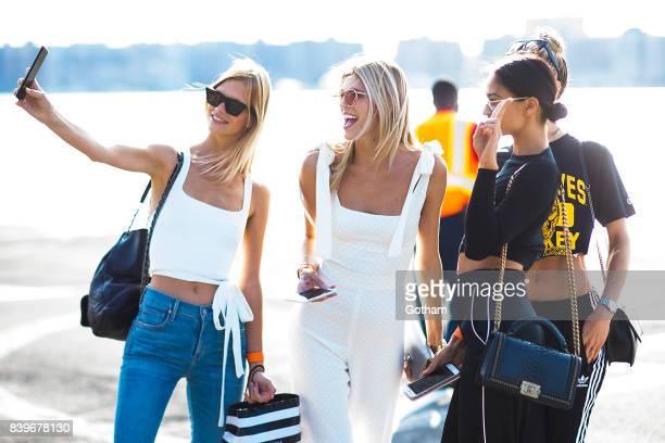 Models Nadine Leopold Devon Windsor Shanina Shaik and Hannah Ferguson are seen in Chelsea on August 26 2017 in New York City