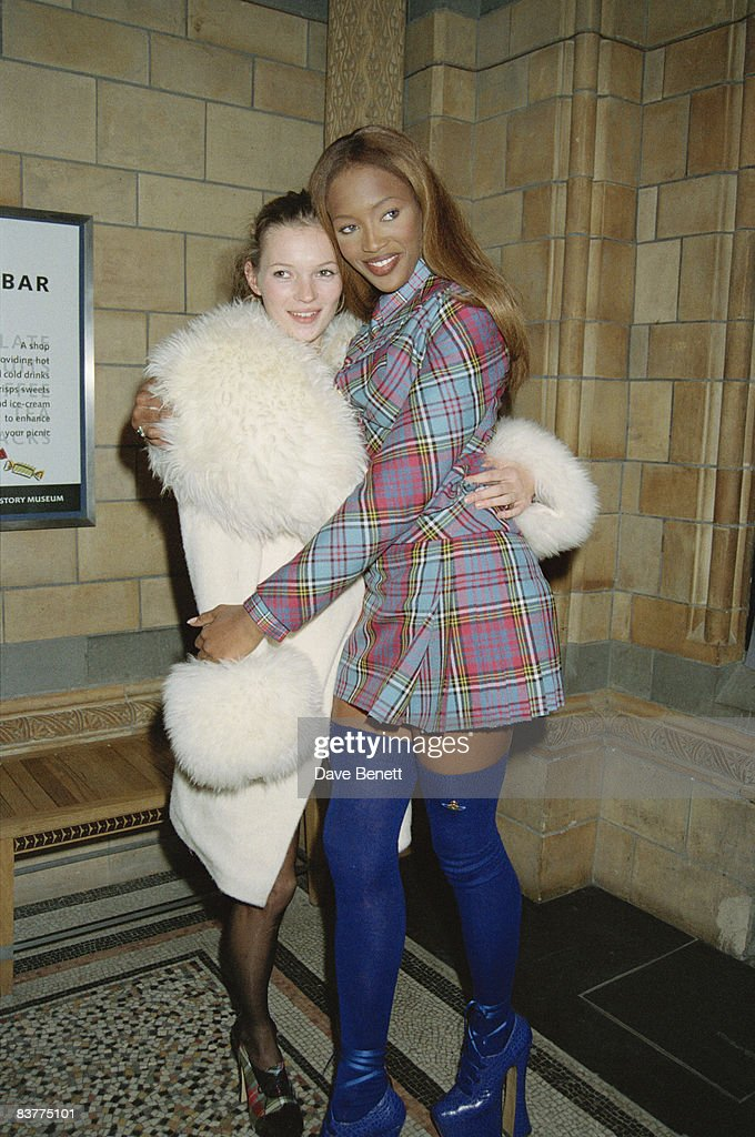 Models <a gi-track='captionPersonalityLinkClicked' href=/galleries/search?phrase=Naomi+Campbell&family=editorial&specificpeople=171722 ng-click='$event.stopPropagation()'>Naomi Campbell</a> and Kate Moss attend the Designer of the Year Awards at the Natural History Museum during London Fashion Week, 19th October 1993.