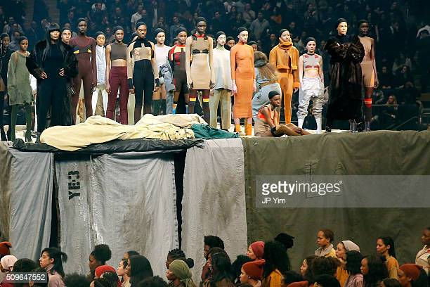 Models Naomi Campbell and Veronica Webb appear onstage during Kanye West Yeezy Season 3 on February 11 2016 in New York City