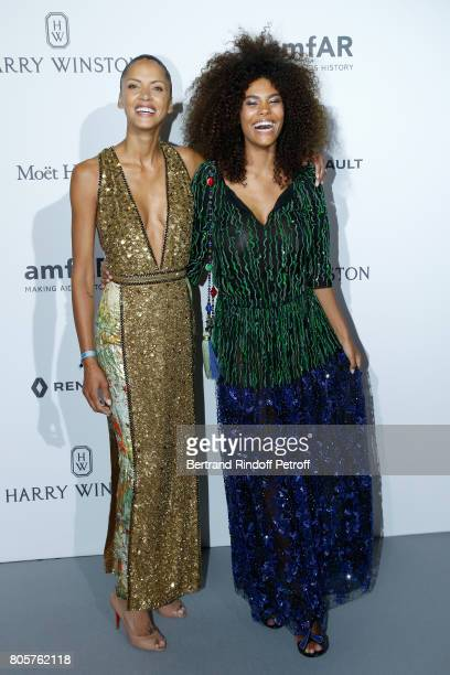 Models Noemie Lenoir and her daughter Tina Kunakey attend the amfAR Paris Dinner 2017 at Le Petit Palais on July 2 2017 in Paris France
