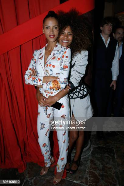 Models Noemie Lenoir and her daughter Tina Kunakey attend the JeanPaul Gaultier 'Scandal' Fragrance Launch at Hotel de Behague on June 15 2017 in...