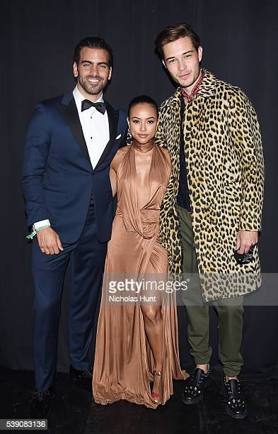 Models Nyle DiMarco Karrueche Tran and Francisco Lachowski attends the 7th Annual amfAR Inspiration Gala at Skylight at Moynihan Station on June 9...