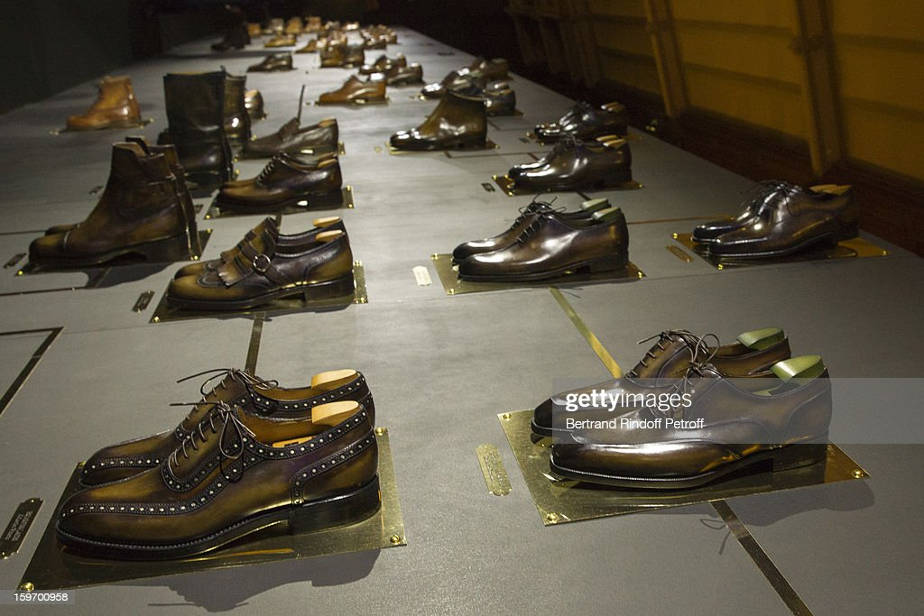 Models of various Berluti shoes over decades are displayed during the Berluti Men Autumn / Winter 2013 presentation at the Great Gallery of Evolution in the National Museum of Natural History, as part of Paris Fashion Week on January 18, 2013 in Paris, France.