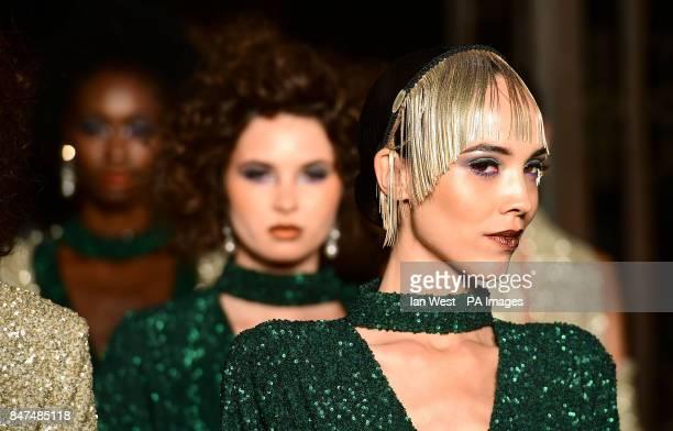 Models on the catwalk during the DDFC X FAD Dubai Fashion showcase Amira Haroon London Fashion Week SS18 show held at Freemasons Hall London